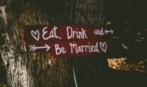結婚式場の屋外にある案内板