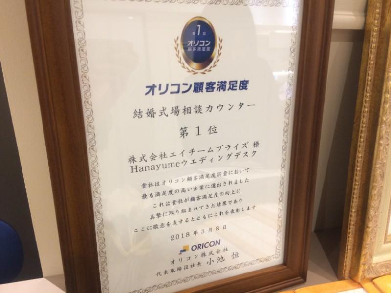 ハナユメウエディングデスクの表彰状