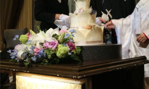 結婚式のケーキ入刀